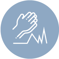 Icon showing praying hands over a heartbeat