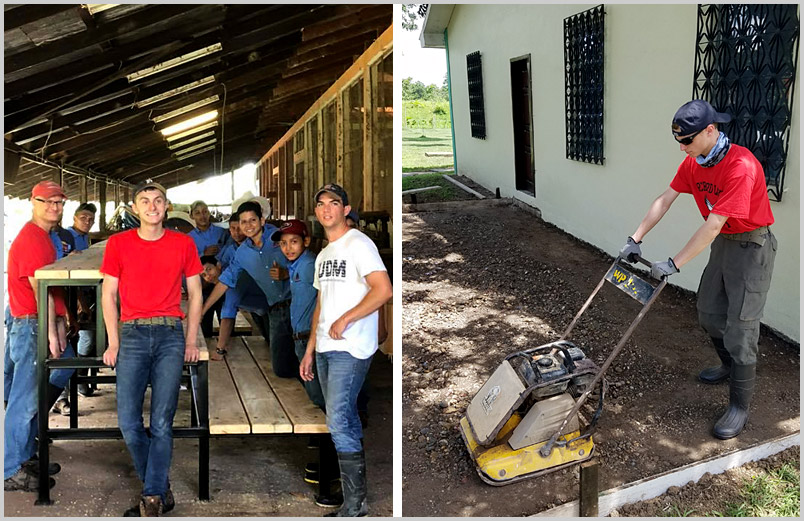 A photo of Michael with other team members and students from El Sembrador with the completed risers (left) Michael preparing the area for concrete to be poured (right)