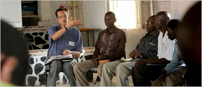 A photo of Jeff teaching young African leaders