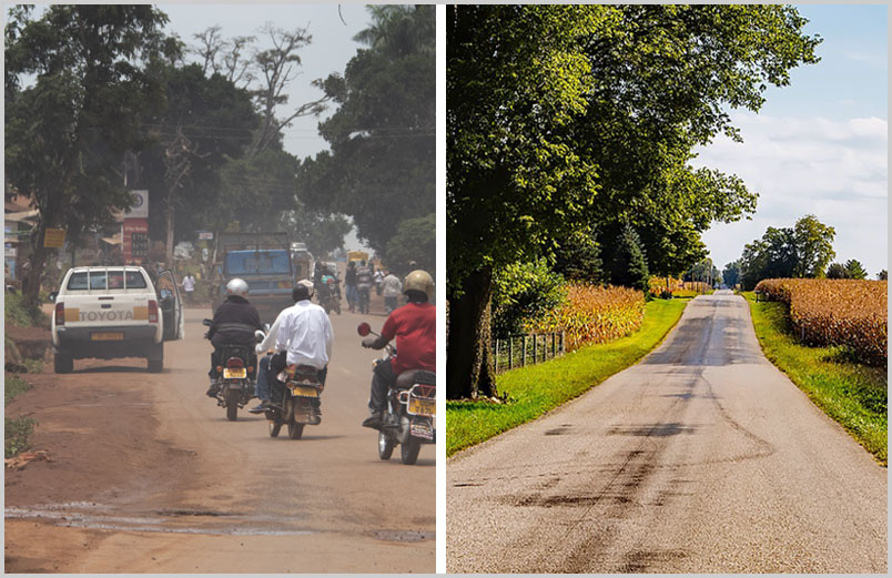 Photo of a busy, dusty Ugandan road and a photo of a rural Indiana road through cornfields