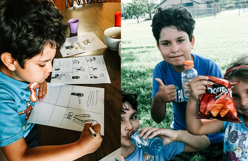 A photo of a boy drawing next to a photo of two boys and a girl eating Doritos and drinking Gatorade outside in summer