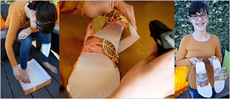 A photo of Ellie making paper sandals