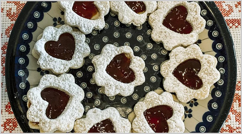 A photo of a plate of Linzer Cookies
