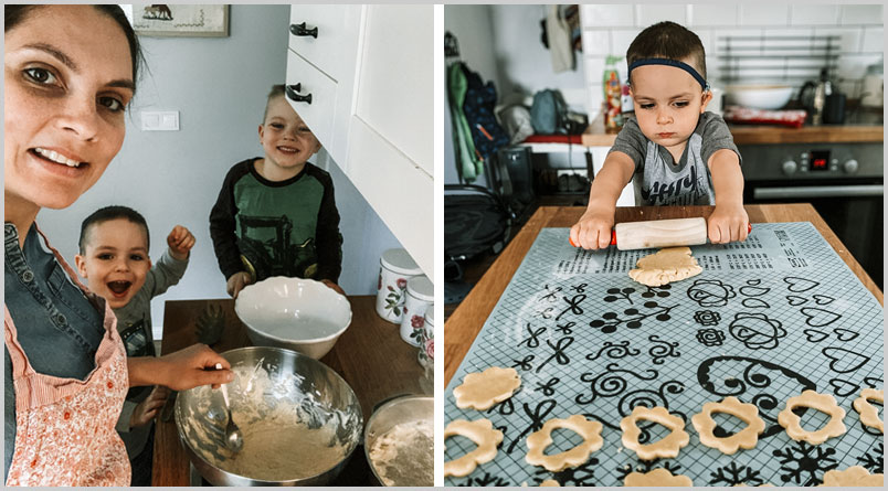 A photo of Eszti and the older boys making Linzer cookies