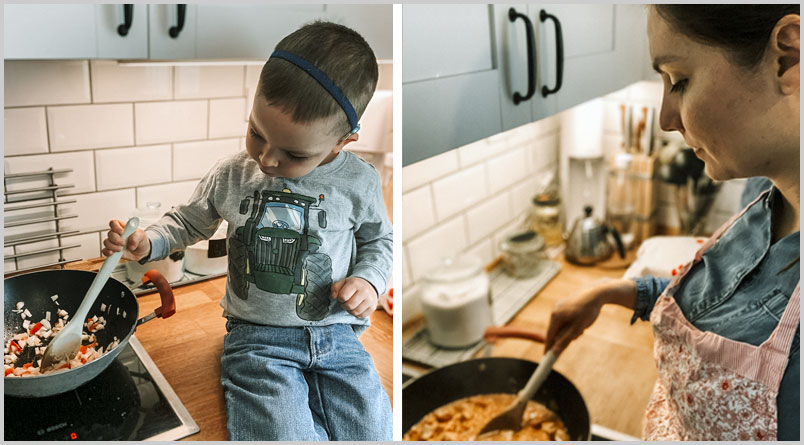 A photo of one of the boys sitting on the counter beside the stove, stirring the chicken in a skillet, and a photo of Ezsti standing by the stove, stirring the chicken.