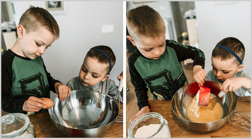 A photo of the two older boys adding ingredients while making the dumplings