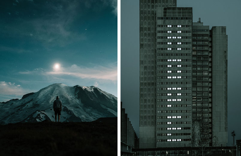 A photo of a person looking at a mountain with a pale sun in the distance and a photo of a gray skyscraper with the word HOPE formed by lights in windows.