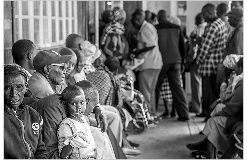 Patients lining up outside the surgical clinic