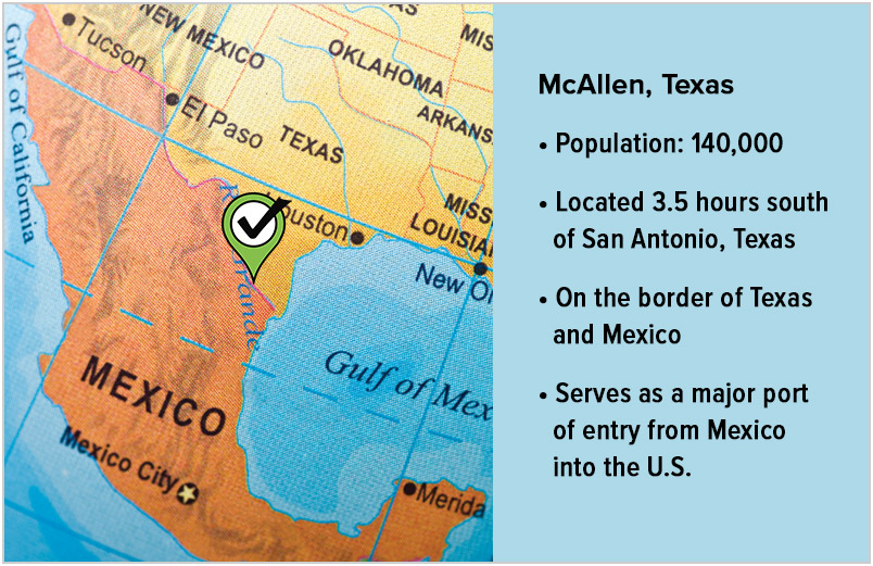 Map of Texas/Mexico border with McAllen highlighted