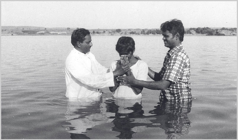 A photo of a baptism service taken in 1980