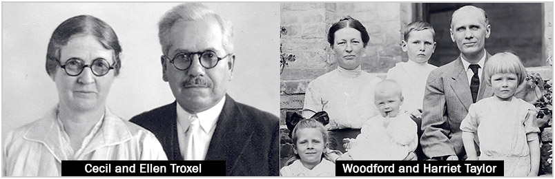 A photo of Cecil and Ellen Troxel (left) and Woodford and Harriet Taylor with their children (right)