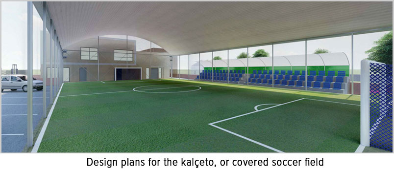 Photo of design plans for the kalçeto, or covered soccer field