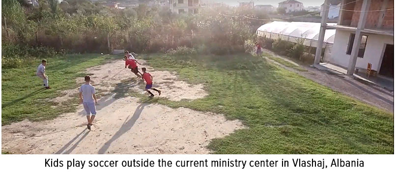 Photo of kids playing soccer outside the current ministry center in Vlashaj, Albania (1)